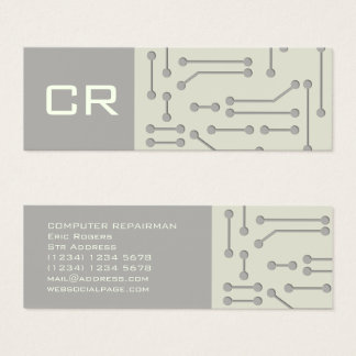 Computer expert cyber tech futuristic cover mini business card