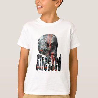 Computer Fried Skull Head, Boys White T-shirt
