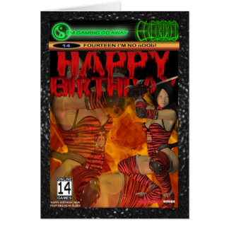 Computer Game Fan Birthday Card 14, fourteen