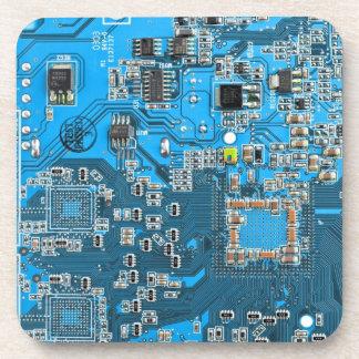 Computer Geek Circuit Board - blue Coaster