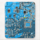 Computer Geek Circuit Board - blue Mousepad