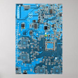 Computer Geek Circuit Board - blue Poster