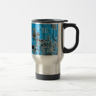 Computer Geek Circuit Board - blue Travel Mug