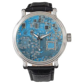 Computer Geek Circuit Board - blue Watch