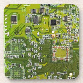 Computer Geek Circuit Board - gold Drink Coaster