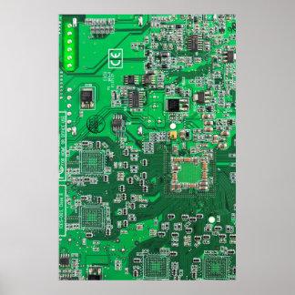 Computer Geek Circuit Board - green Poster