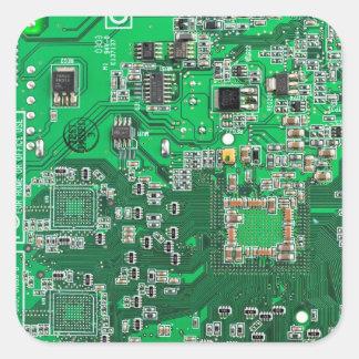 Computer Geek Circuit Board - green Square Sticker