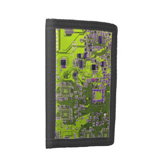 Computer Geek Circuit Board - neon yellow Tri-fold Wallets
