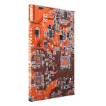 Computer Geek Circuit Board - orange Stretched Canvas Prints
