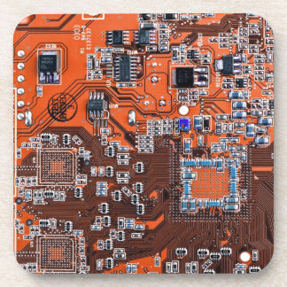 Computer Geek Circuit Board - orange Drink Coaster