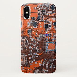 Computer Geek Circuit Board - orange iPhone X Case