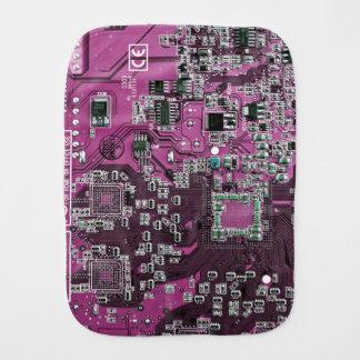 Computer Geek Circuit Board - pink purple Burp Cloths
