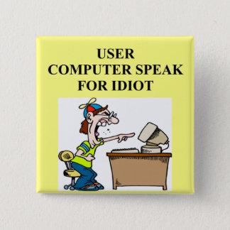 computer geek joke 2 inch square button