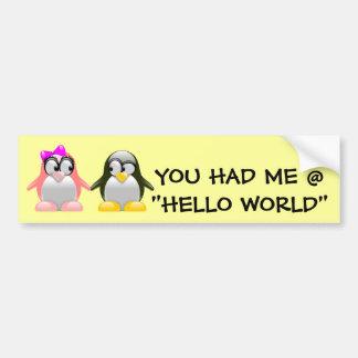 Computer Geek Valentine: Programming Language Love Bumper Sticker