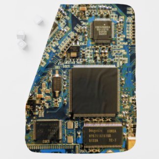 Computer Hard Drive Circuit Board blue Receiving Blankets