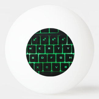 Computer Keyboard qwerty green keys Ping Pong Ball