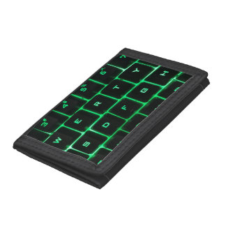 Computer Keyboard qwerty green keys Trifold Wallet