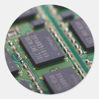 Computer Memory Chips Round Sticker