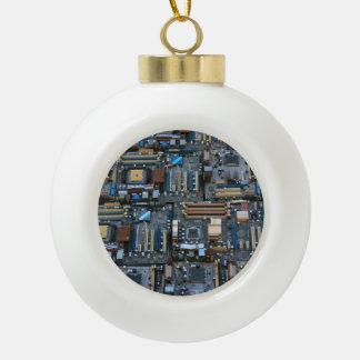 Computer motherboard ceramic ball christmas ornament