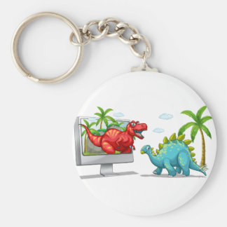 Computer screen with two dinosaurs basic round button keychain