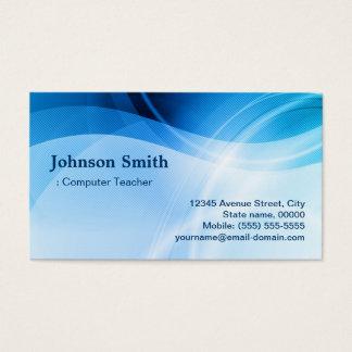 Computer Teacher - Modern Blue Creative Business Card