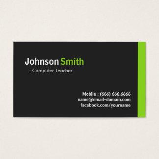 Computer Teacher - Modern Minimalist Green Business Card