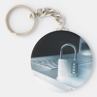 computer technology security basic round button keychain