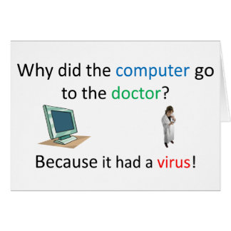 Computer virus joke card