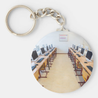 Computers in classroom of dutch education keychain