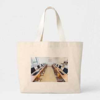 Computers in classroom of dutch education large tote bag