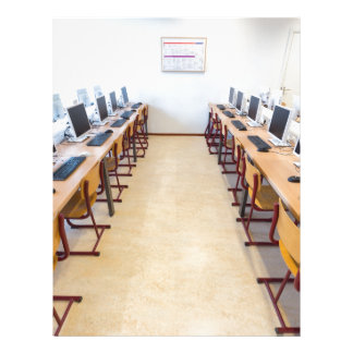 Computers in classroom of dutch education letterhead