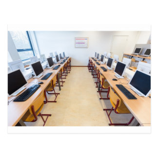 Computers in classroom of dutch education postcard