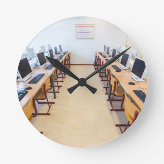 Computers in classroom of dutch education round clock