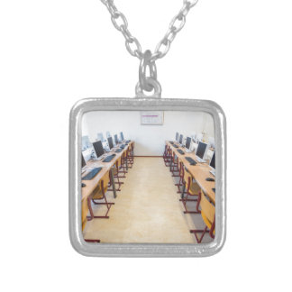 Computers in classroom of dutch education silver plated necklace