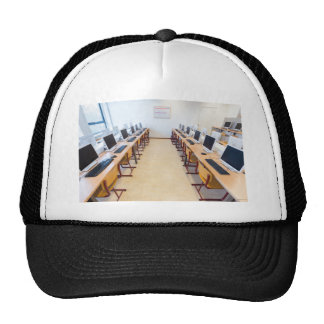 Computers in classroom of dutch education trucker hat