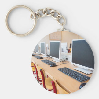 Computers in classroom on high school basic round button keychain