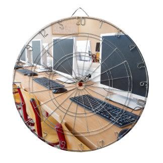 Computers in classroom on high school dartboard