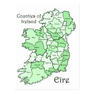Comtés de carte de l'Irlande Cartes Postales