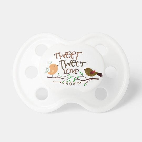 ComXCustomTees Tweet Tweet Love Baby Pacifier