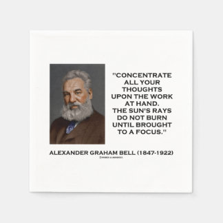 Concentrate All Your Thoughts Upon Work Bell Quote Napkin