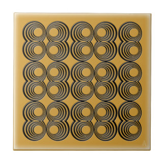 Concentric Black Circles over Harvest Gold Tiles