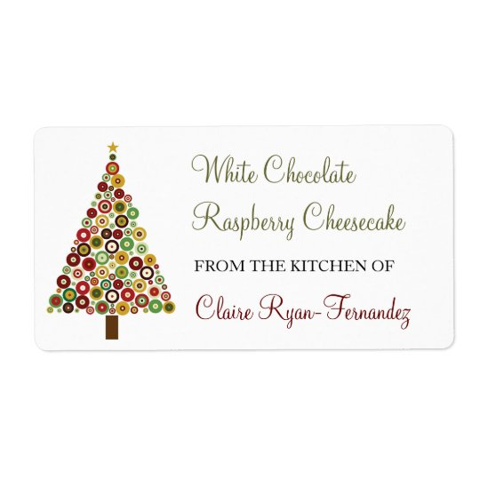 Concentric Circles Christmas Tree Baking Label Shipping Label
