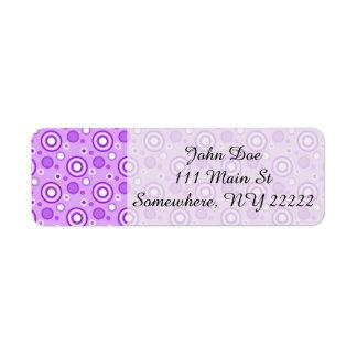 Concentric Circles in Purple Return Address Label