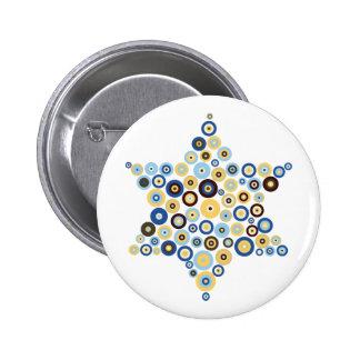 Concentric Circles Star of David Button