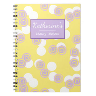 Concentric Dots Yellow Customizable Notebook