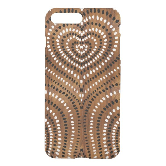Concentric Hearts solid black and white wood look iPhone 7 Plus Case