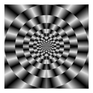 Concentric Rings in Monochrome Poster