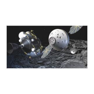Concept Art of Orion Spacecraft in Lunar Orbit Canvas Print