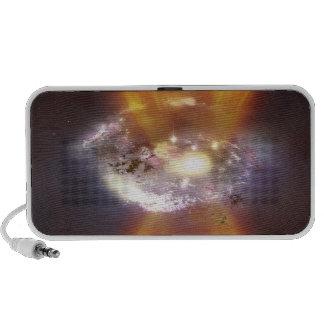 Concept d'artiste d'une galaxie haut-parleurs iPod
