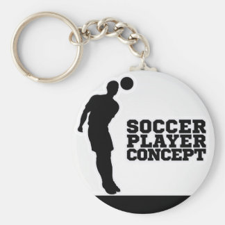 Concept Silhouette Soccer Player Basic Round Button Keychain